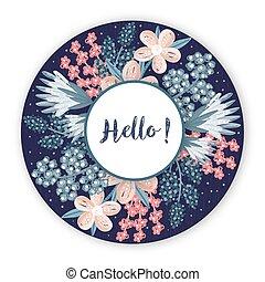 colorito, fiore, cornice, creativo, flowers., artistico, fondo, floreale, disegnato, cerchio, estratto mano, design.