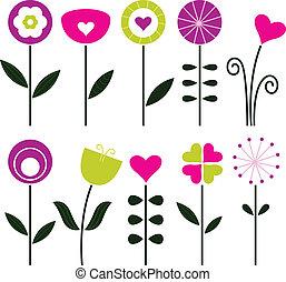 colorito, fiori retro, nero, isolato, -, elegante, bianco
