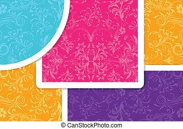 colorito, floreale, fondo