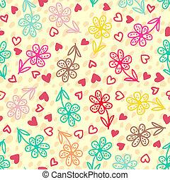 colorito, floreale, seamless, modello