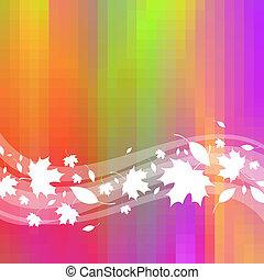 colorito, &, foglie, vettore, fondo, onde, acero