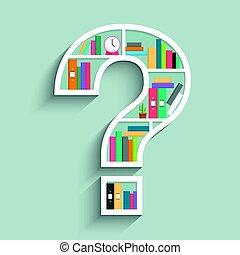 colorito, forma, punto interrogativo, libri, scaffale