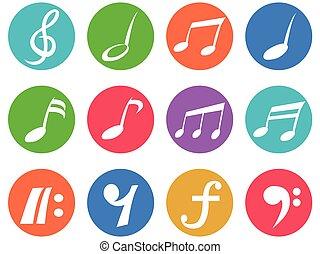 colorito, freehead, nota musica, icona, bottoni, set