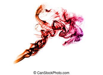 colorito, fumo, forma astratta, su, il, bianco