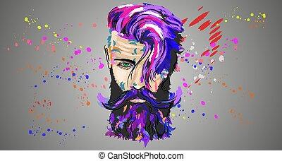 colorito, giovane, illustrazione, tipo, baffi, barba
