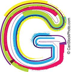 colorito, grunge, lettera g