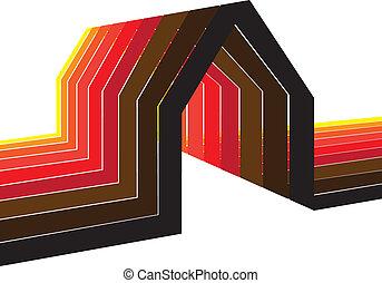 colorito, house/home, simbolo, illustrazione, in, tonalità, di, rosso, arancia, giallo, nero, marrone