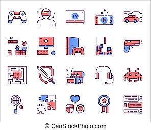 colorito, icone, set, lineare, attività, ozio