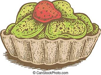 colorito, illustrazione, mano, vettore, frutte, disegnato, bacche
