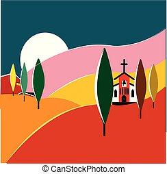 colorito, illustrazione, paesaggio, talian, toscana
