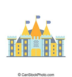 colorito, illustrazione, racconto, vettore, castello, fata