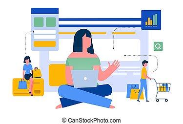 colorito, illustrazione, vettore, esperienza, acquirente, opzioni