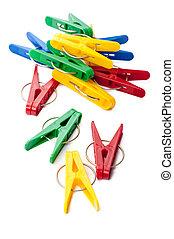 colorito, immagine, closeup, fondo, bianco, clothespins