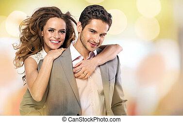 colorito, immagine, di, coppia felice