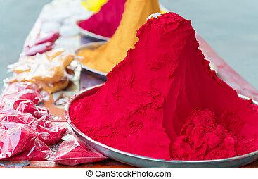 colorito, indiano, tinta, mucchi, monticelli