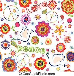colorito, infantile, pace, involucro, simbolo, fiori, ricamato, astratto, colombe