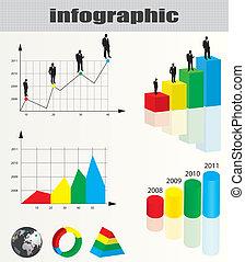 colorito, infographic, e, uomo affari, silhouette, collezione