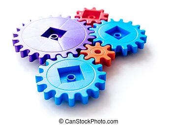 colorito, ingranaggi, per, ideale, lavoro squadra, tecnologia, bianco, tavola, fondo, vista superiore