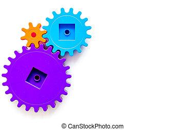 colorito, ingranaggi, per, ideale, lavoro squadra, tecnologia, bianco, tavola, fondo, vista superiore, manichino