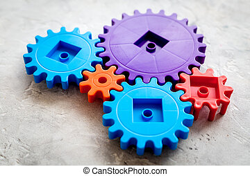 colorito, ingranaggi, per, ideale, lavoro squadra, tecnologia, pietra, tavola, fondo