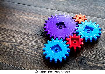 colorito, ingranaggi, per, ideale, lavoro squadra, tecnologia, tavola legno, fondo, manichino