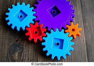 colorito, ingranaggi, per, ideale, lavoro squadra, tecnologia, tavola legno, fondo, vista superiore