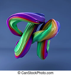 colorito, interpretazione, strokes., isolato, space., tre dimensionale, vernice, ondulato, spazzola, dabs, letter., calligrafia, 3d