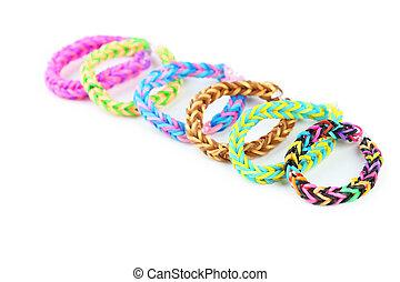 colorito, isolato, elastico, braccialetti, bianco