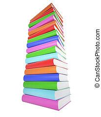 colorito, isolato, fondo., libri, bianco, pila