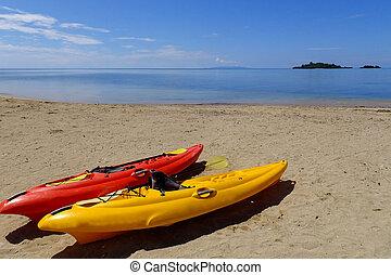 colorito, kayak, su, uno, spiaggia, vanua, levu, isola, figi