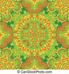 colorito, laccio, modello, con, ornare, elements., verde giallo, astratto, fondo., vettore, casato, illustration.