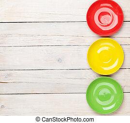 colorito, legno, sopra, fondo, piastre, tavola, bianco
