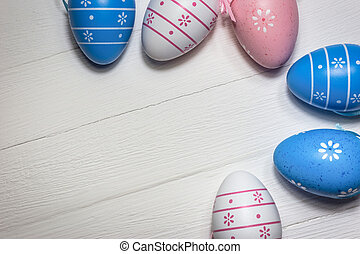colorito, legno, uova, fondo, bianco, pasqua