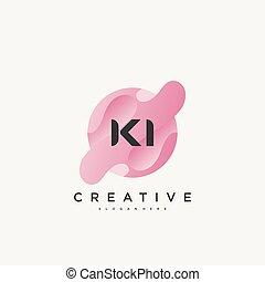 colorito, lettera, vettore, iniziale, disegno, ki, sagoma, logotipo, elementi, icona