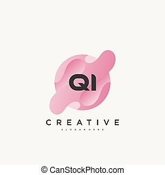 colorito, lettera, vettore, iniziale, disegno, qi, sagoma, logotipo, elementi, icona