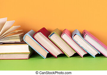 colorito, libro, fondo., luminoso, libri, libro copertina rigida, aperto