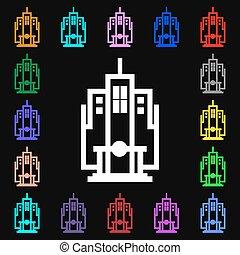 colorito, lotti, segno., simboli, vettore, grattacielo, icona, tuo, design.