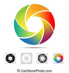 colorito, macchina fotografica, otturatore, logotipo
