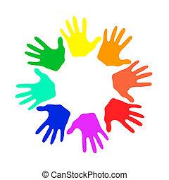 colorito, mani, -, vettore, illustrazione
