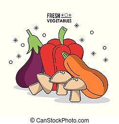 colorito, manifesto, verdura, funghi, melanzana, peperoni, fresco, zucchini