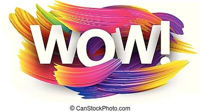 colorito, manifesto, wow, strokes., carta, spazzola