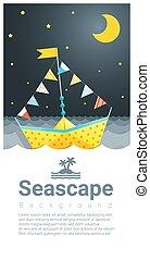 colorito, marina, 3, carta, fondo, nave