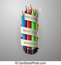 colorito, matita, pastelli, con, testo, indietro scuola, su, nastro