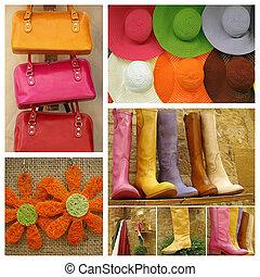 colorito, moda, collage