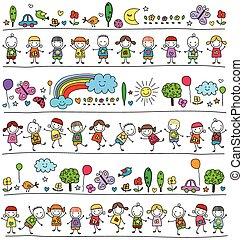 colorito, modello, con, bambini, e, carino, natura, elementi