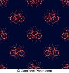 colorito, modello, fissare, bicicletta, seamless, vettore, hipster, stile