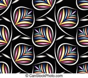 colorito, modello, foglie, seamless, sfondo nero