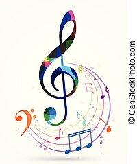 colorito, note musica, modello