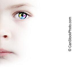 colorito, occhio, con, mappa