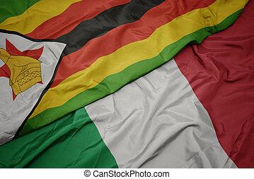 colorito, ondeggiare, zimbabwe., bandiera, nazionale, italia